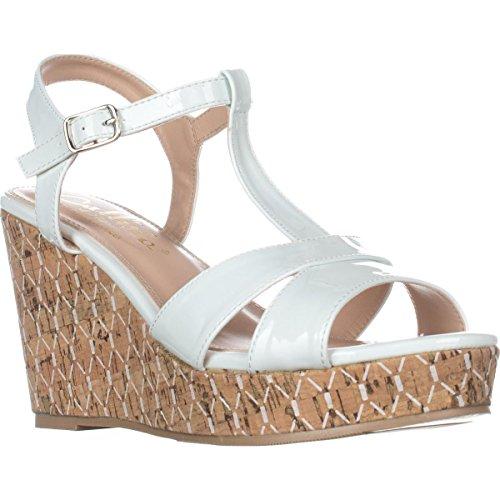 Callisto Aspenn T-Strap Wedge Sandals - White lMQ667q