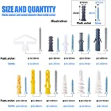 Glarks 212Pcs Phillips Flat Head Self Tapping Screws and Ribbed Anchors Assortment Screws Kit