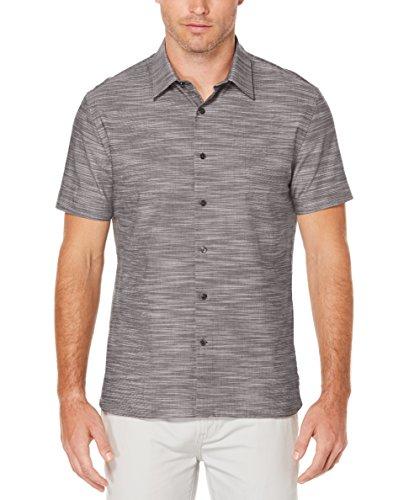 Perry Ellis Men's Short Sleeve Solid Slub Texture Shirt, Slate, Large