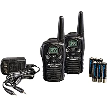 Midland LXT118VP 22-Channel GMRS with 18-Mile Range, Rechargeable Batteries, and Wall Charger