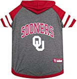 NCAA OKLAHOMA SOONERS HOODIE for DOGS & CATS, Large. | COLLEGIATE Licensed DOG HOODY Tee Shirt | Sports HOODY T-Shirt for Pets | COLLEGE Sporty Dog Hoodie Shirt.