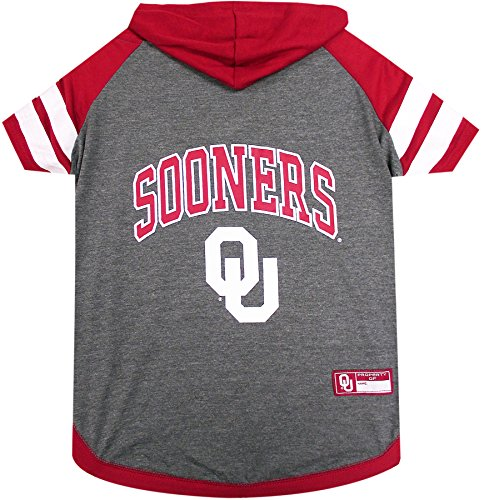 NCAA OKLAHOMA SOONERS HOODIE for DOGS & CATS, Large. | COLLEGIATE Licensed DOG HOODY Tee Shirt | Sports HOODY T-Shirt for Pets | COLLEGE Sporty Dog Hoodie Shirt. by Pets First