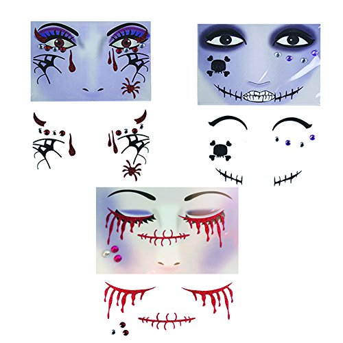 Calavera Costume Makeup (Temporary Face and Eyes Sticker, The Best for Halloween | Masquerade | Cosplay etc, Makeup Face Tattoo Paster Kit (Type 2))