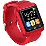 HopCentury Bluetooth Smart Watch for Android Cellphones with Calls Notifier Sleep Monitor Pedometer Stopwatch Anti Lost Drink/Rest Reminder, Support iPhone with Partial Functions Red