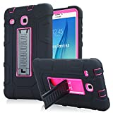 Samsung Galaxy Tab E 8.0 Case, High Impact Armor Heavy Duty Hybrid Shockproof Protection Cover Built With Kickstand for Samsung Galaxy Tab E 32GB SM-T378/Tab E 8.0 Inch SM-377 Tablet (Rose)