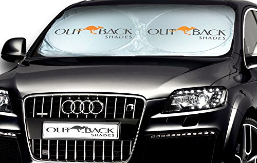 Outback Shade Windshield Sunshade - Car Sun Shade - Premium Sun Shield Made for the Australian Outback. Ultra Tough Sun Protector Car, SUV, Truck and Van. Bonus Blind Spot Mirrors. Now In USA