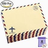 Bolbove Set of 100 Pcs Classic AirMail Vintage Style Kraft Paper Postcard Letter Envelopes Invitations (100 Brown)