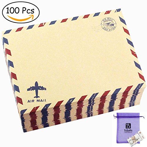 Bolbove Set of 100 Pcs Classic AirMail Vintage Style Kraft Paper Postcard Letter Envelopes Invitations (100 (Retro Halloween Postcards)