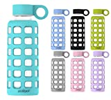 purifyou Premium Glass Water Bottle with Silicone Sleeve & Stainless Steel Lid Insert, 12 / 22 / 32 oz (5 Pack Aqua Blue, 12 oz)