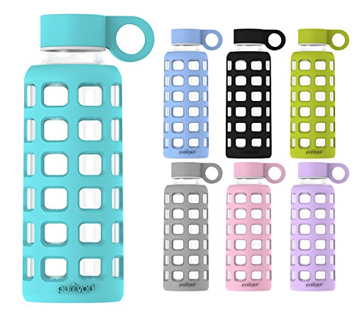 purifyou Premium Glass Water Bottle with Silicone Sleeve & Stainless Steel Lid Insert, 12 / 22 / 32 oz (5 Pack Aqua Blue, 12 oz) by purifyou