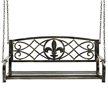 Best Choice Products Outdoor Furniture Metal Fleur-De-Lis Hanging Patio Porch Swing - Bronze