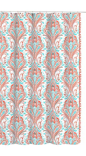 Ingrid Collection Paisley Floral Fabric Shower Curtain: Elegant Orange Coral Aqua Grey White with Side Pom - Aqua Coral