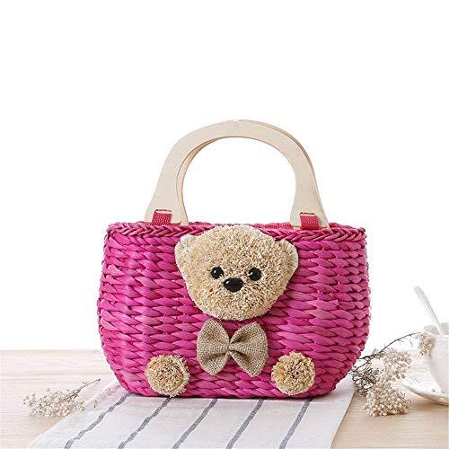 B colore D Super Womens tessuta Bear Ba in Maniglia Handbags di Borsa Beach B Yisaesa Toy design legno Size Handmade Cute Ladies paglia Esclusivo RgwAqHpnq6