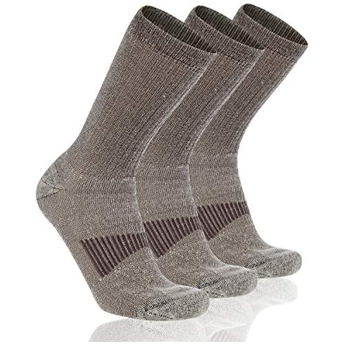 Cooplus Mens Heavy Thick Warm Comfort Hiking Thermal Merino Wool Heat Crew Winter Socks 3P-Pack Mixed Colors