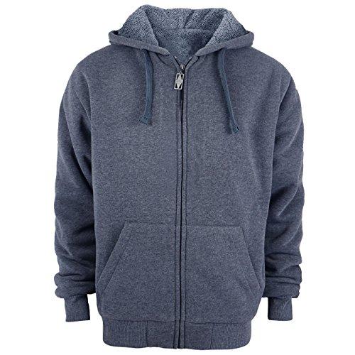 Plus Size S - 5XL Fleece Hoodies for Men Heavyweight Full Zip up Long Sleeve Solid Black Grey Zipper Sherpa Lined Jackets (5XL, Dark Grey) - Fashion Solid Hooded Zipper
