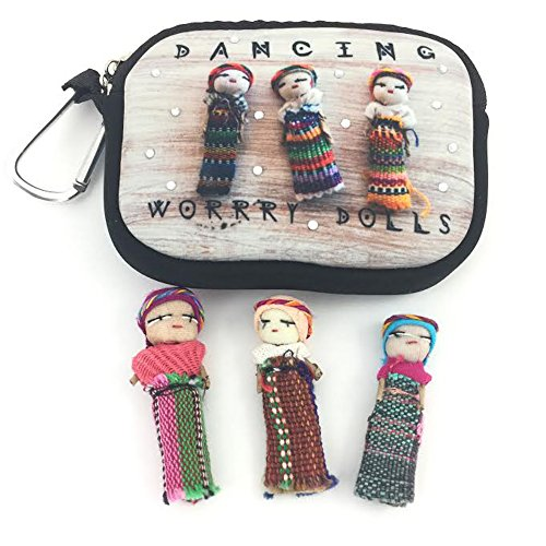 Price comparison product image Dancing Worry Dolls and Pouch with Clip by Spinner Skins - Perfect Gift and Good Luck Charm for Dancers