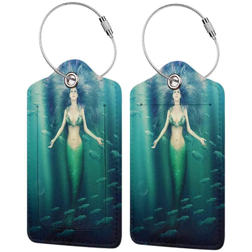 Flexible luggage tag Mermaid Decor Mermaid With Fish in Sunbeams Sunlights Magical Underwater World Fashion match W2.7 x L4.6
