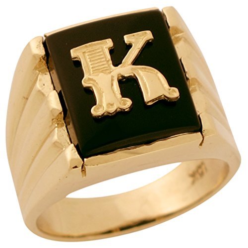 Jewelry Liquidation 10k Solid Gold Rectangle Onyx Fancy Letter K Modern Mens Initial Statement Ring - Mens Onyx Initial Ring