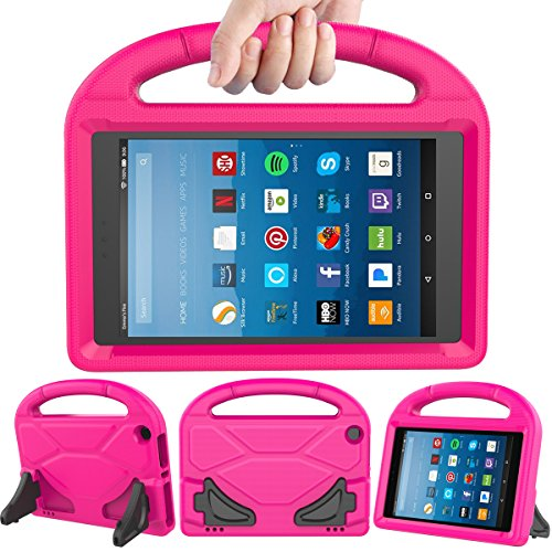LEDNICEKER Kids Case for Fire HD 8 2017 - Light Weight Shock Proof Handle Friendly Convertible Stand Kids Case for Fire HD 8 inch Display Tablet (7th Generation, 2017 Release) - Magenta/Rose