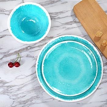 Melamine 18-Piece Dinnerware Set - Hware Indoor or Outdoor Dinner PlatesService for  sc 1 st  Amazon.com & Amazon.com | Melamine 18-Piece Dinnerware Set - Hware Indoor or ...