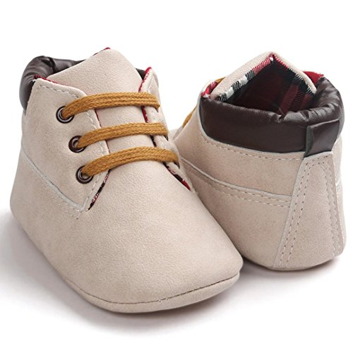 Ularma Babyschuhe Weiche Sohle Warm Anti-Rutsch Lederschuhe für Baby Jungen Mädchen in Mehre Farben (12, Braun1) Beige