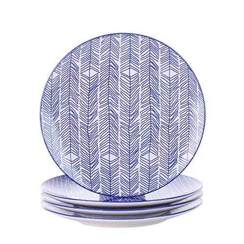 V VANCASSO Porcelain Dinner Plates, 4-Piece Blue Patterned Porcelain China Ceramic 10.5 Inches Round Pasta Dishes Main Course Plates for Steak Pasta Salad - Blue (Dinnerware Patterned)