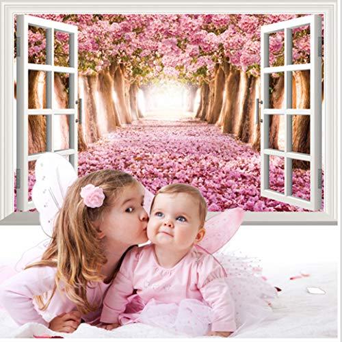 Cherry Blossom Wallpaper For Walls - GoldenCart Cherry Blossom Wallpaper-Like 3D Window Wall Decal I 3D Wall Art I 3D Wall Stickers I Cherry Blossom Tree Wall Decal I Party Decor Wall Sticker I 3D Sticker for Wall (Vinyl, 90cm X 60cm)