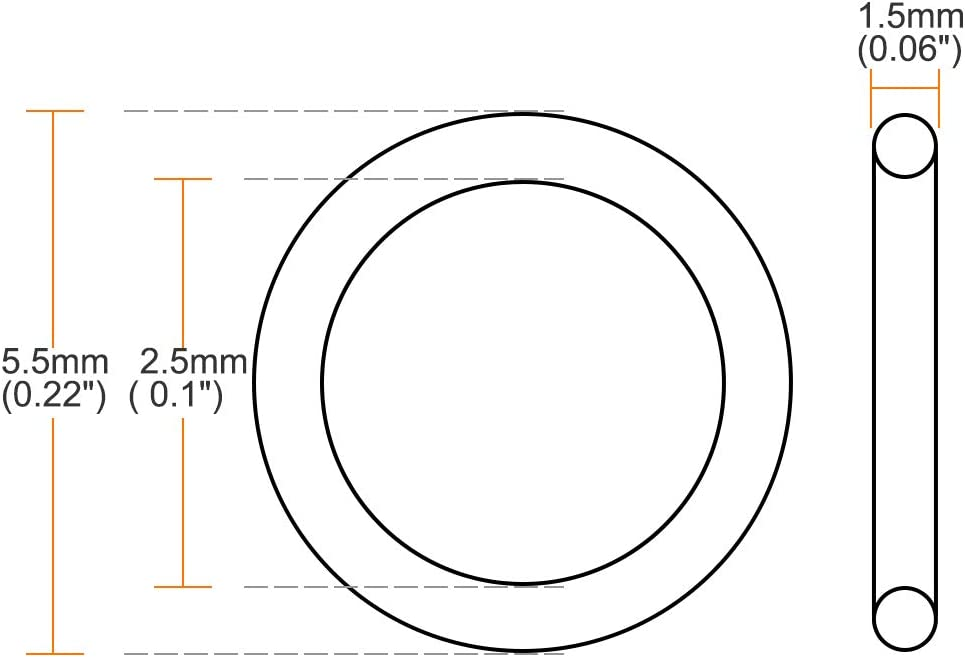 1,5 mm Ancho sourcing map Caucho Fl/úor Junta T/órica 2,5 mm OD Junta Sellado Verde 5uds 5,5 mm Di/ámetro Interior