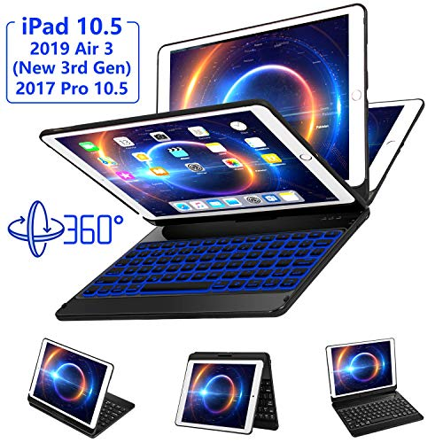 iPad Pro 10.5 Case with Keyboard 2017/ iPad Air 3rd Gen Case with Keyboard 10.5 2019, 360 Rotate 7 Color Backlit Wireless Folio Keyboard Case Cover, Auto Wake Sleep/Silent Typing/Thin&Light, Black