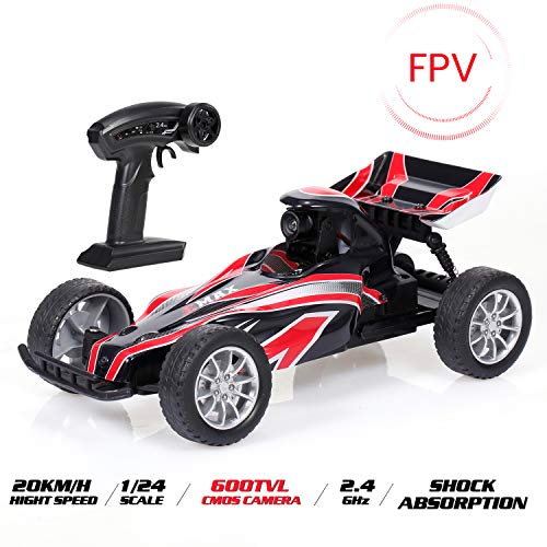 GoolRC RC Car, EMAX Interceptor FPV High Speed Racing RC Car with 600TVL Camera, 1/24 Scale 2.4GHz Remote Control Car Race Vision for Kids & Adults