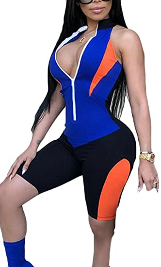 0258193f36b8 Amazon.com  Frieed Womens Short Zip Jogging Sleeveless Leotard Color  Stitching Yoga Jumpsuits Rompers  Clothing