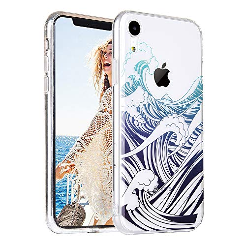 COSANO Cute iPhone XR case, Clear Blue Sea Wave Nature Beach Summer Design [Hard PC Back +Shock Absorbing Soft Bumper] Slim Thin Transparent Flexible Silicone Protective Cover (Wavez XR) ()