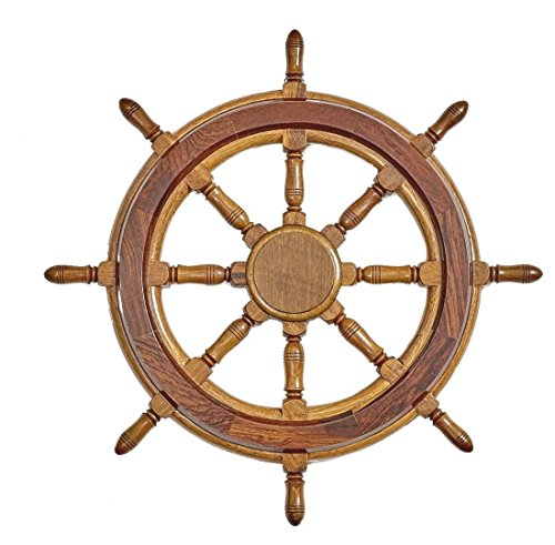 Decorative Wooden Ship's Wheel Wall Decor - Large, Antique Ship Steering Wheel, Nautical Beach Wall Mount Decor for Living Room, (Antique Ships Wheel)