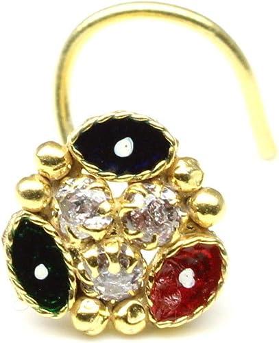 Karizma Jewels Ethnic Nose Stud Multi-Color CZ L Bend Nose Stud Corkscrew Nose Piercing Ring