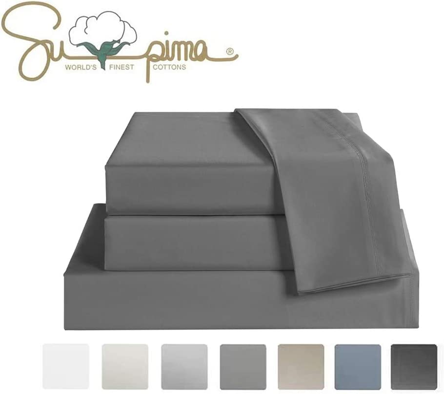 ELINEN Bed Sheet Set Queen Size Sheets 4 Pieces, 600 Thread Count 100% Supima Cotton Sheets, Soft & Silk Sateen Weave, Fits Mattress Up to 18'',Deep Pocket, Breathable & Fade Resistant