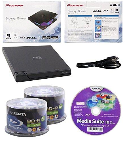 Pioneer 6x BDR-XD05B Ultra Lightweight External Blu-ray BDXL Burner, Cyberlink Software and USB Cable Bundle with 100pk BD-R Ridata 25GB 6X White Inkjet, Hub Printable by Produplicator