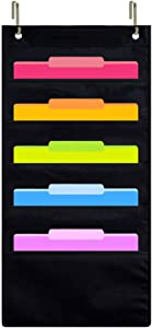 Eamay Hanging Wall Organizer, Over The Door Office Supplies File Document Organizer Holder for Home Bill Filing, Mail Organizer, Wall Mounted File Folders - 5 File Pockets Chart and 2 File Hangers