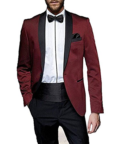 YSMO Men's Burgundy Shawl Lapel Men Suits 2 Pieces Wedding Suits for Men Groom Tuxedos by YSMO