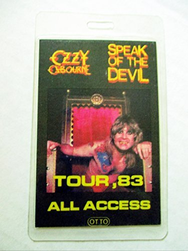 Backstage Pass Laminate - 1983 Ozzy Osbourne Laminated Backstage Pass All Access