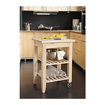 Bekväm Kitchen Cart, Birch (With Bonus Brush Set)