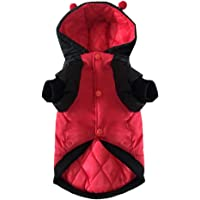niceEshop Dog Down Jacket in Ladybird Shape Hood Waterproof Dog Padded Winter Cloth for Small Dogs,Red.