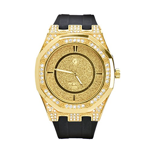(Men's Techno Pave Fashion Bling Iced Out Black Band Watches WR 8154)