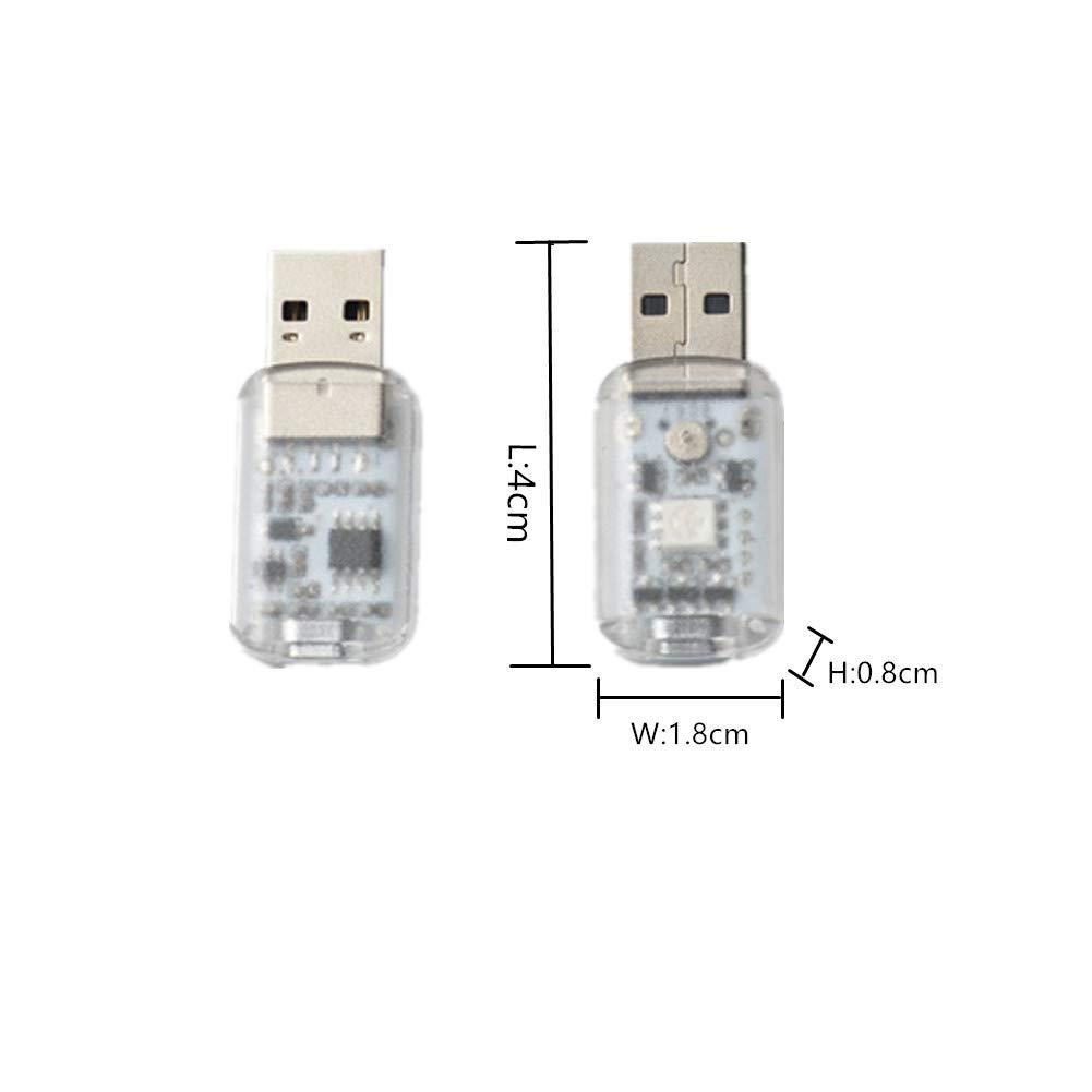 Yih Vane 3pcs mini luces LED USB t/áctil y control de voz del coche LED luz interior para computadora del coche