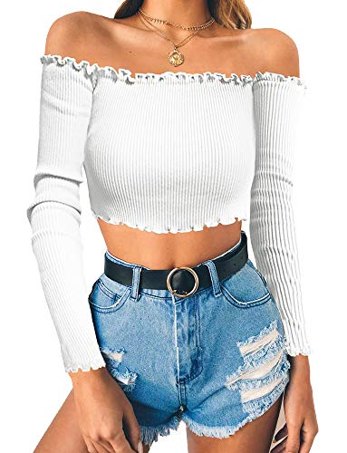 - PRETTODAY Women's Sexy Off Shoulder Crop Tops 10 Colors Summer Long Sleeves Casual Slim Tees White Medium