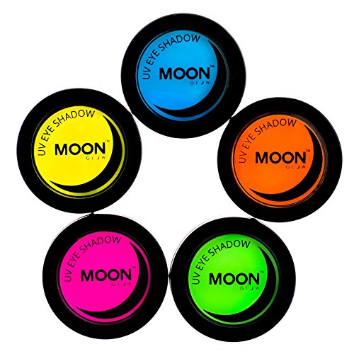 - Moon Glow - Blacklight Neon Eye Shadow 0.12oz Set of 5 colors – Glows brightly under Blacklights / UV Lighting!