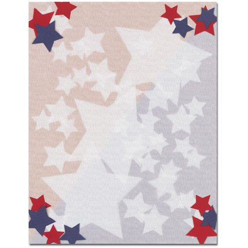 Price comparison product image Red, White & Blue Patriotic Stars Laser & Inkjet Computer Printer Paper