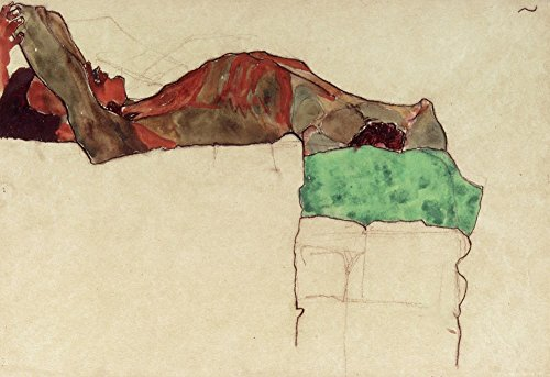 Reclining Male Nude With Green Cloth, 1910 by Egon Schiele Art Print, 18 x 12 inches