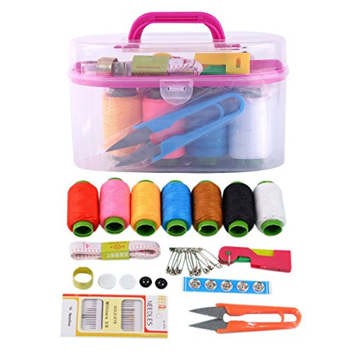 Portable Sewing Kit - Craft Tools Supplies Mini Box Enhanced Needles Cross Stitch Assorted Threads Basic Suitable For Home Travel And Emergency Use (Color random)