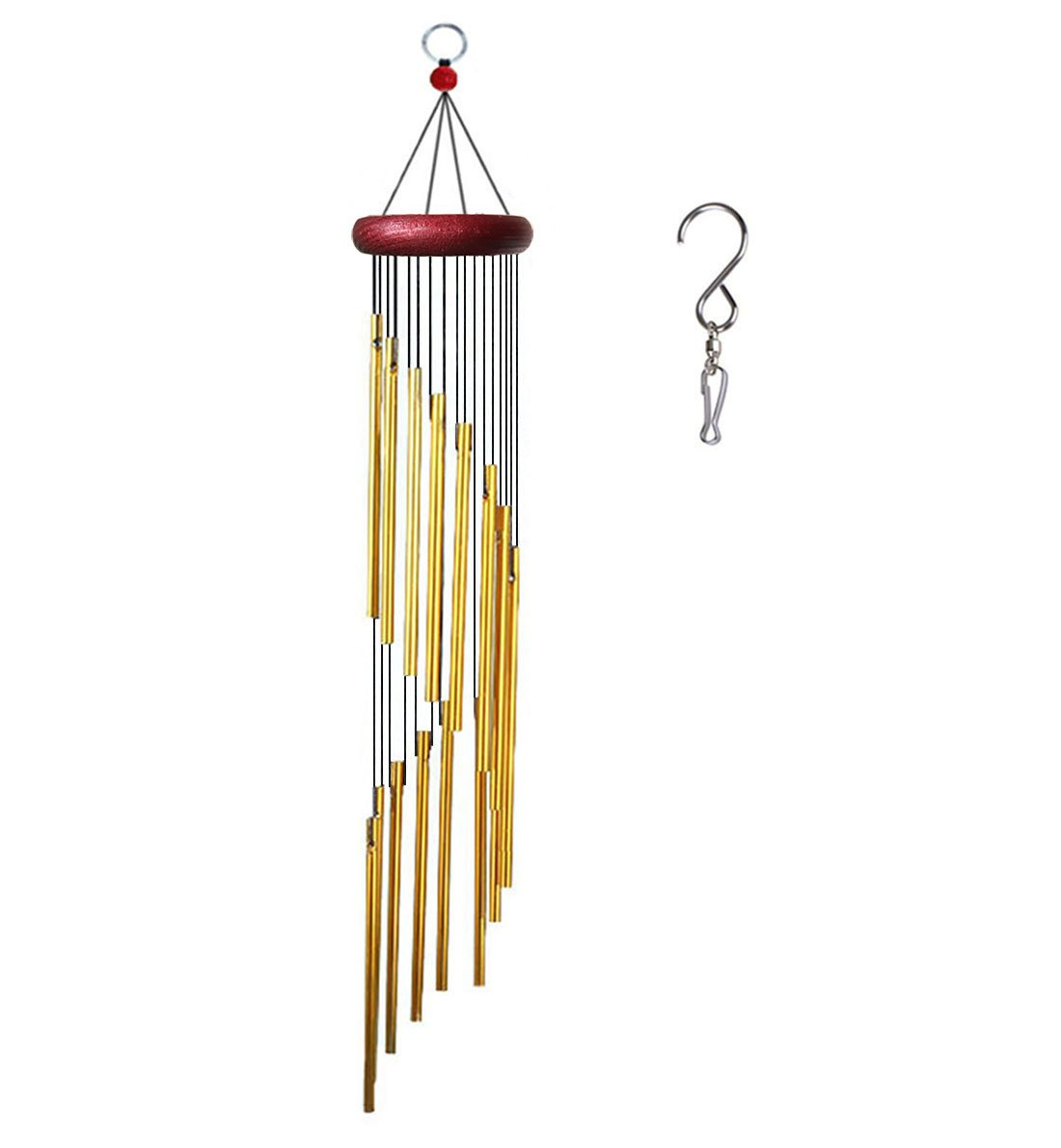 Viewpick Wind Chime Amazing Grace Decoration Mobile Chimes for Indoor Outdoor Porch Garden Balcony Backyard Patio Lawn(16 Golden Aluminum Alloy Tubes)