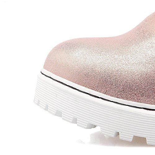 AgooLar Damen Mittler Absatz Gemischte Farbe Ziehen auf Flaum Futter Rund Zehe Stiefel Pink